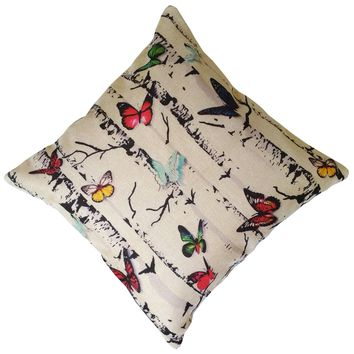 """16"""" x 16"""" with INSERT Decorative Throw Pillow Luxury Square Cushion for Couch Sofa Bedroom and Living Room Butterfly Wood Print Gifts for All"""