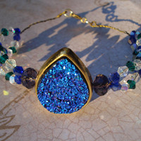 Double beaded Blue Peacock faux druzy crystal bracelet -holiday -Gifts for her -Formal Bracelet - Blue and Purple - Christmas - women gifts