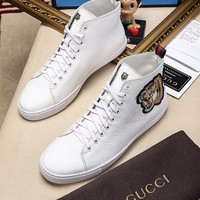 Gucci Fashion Tiger head Embroidery Leather High top Sneaker One-nice™