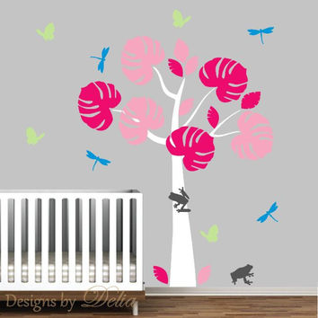 Rainforest Tree Wall Decal, Children Wall Art, Frogs, Butterflies, Dragonflies