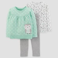 Toddler Girls' 3pc Cotton Owl Dot Set - Just One You™ Made by Carter's® Light Green