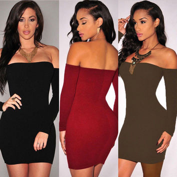 New Women Winter Autumn Ladies Sexy Bodycon Dress Off Shoulder Long Sleeves Evening Party Mini Dress