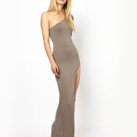 Light Brown One Shoulder Long Sleeve Evening Dress with High Slit