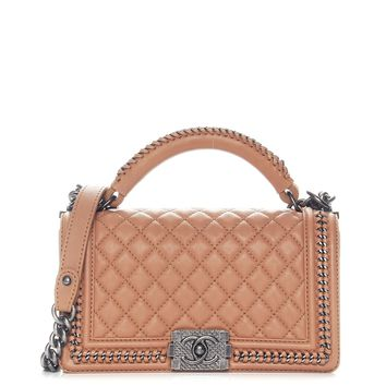 CHANEL Calfskin Quilted Medium Boy Top Handle Flap Brown