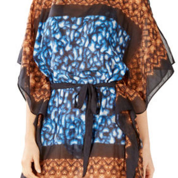Blue BCBG Batik Tribal Caftan