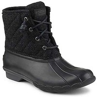 Sperry Top-Sider Saltwater Quilted Wool Duck Boots for Women in Black STS97561