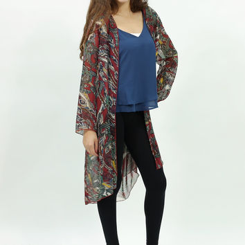 Feather inspired chiffon long kimono cardigan Burgundy