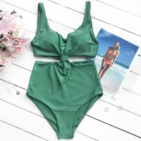 Green solid Color Swimsuit Bathing Suit Push Up Swimwear