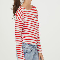 Striped top with a text motif - Red/Romantic - Ladies | H&M GB
