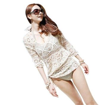 VONE05L Beach Tunic Sexy Swimwear Cover Up For Women Beach Cover Ups Crochet Pareo Bathing Suit Cover Ups Summer Female Hollow Swimsuit