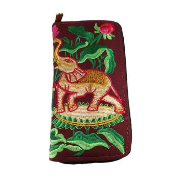 Embroidered Wallet Handmade Purse Women Clutch Bag Vintage Fabric Thai Ethnic