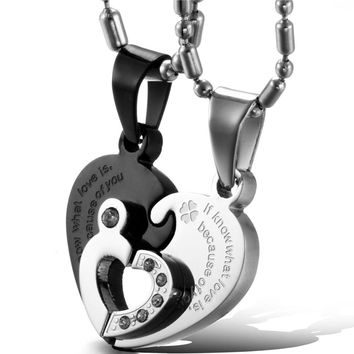 SHIPS FROM USA 1 pair Black/Silver 316L Stainless Steel Two Half Heart Necklaces For Couples Lover Heart Pendant Set Christmas Gift