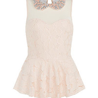 Parisian Shell Pink Embellished Collar Mesh Peplum Top