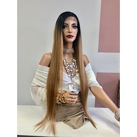 """Dark Blonde Ombre Long Straight Hair Lace Front Wig 28"""" 0319 Lauren"""