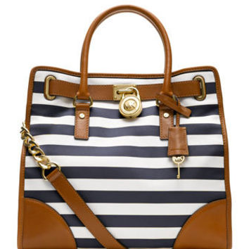 MICHAEL Michael Kors  Large Hamilton Striped Canvas Tote - Michael Kors