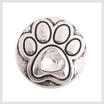 Animal Paw Print Clear Stone 20mm 3/4""