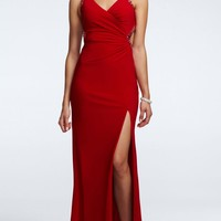 Sleeveless Long Jersey Dress with Sequin Trim - David's Bridal