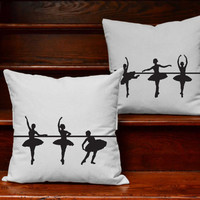 Ballerina Pillow Covers and or Cushions - Ballet Silhouette Pillows, Ballerina Room Decor, Dancer Pillows, Ballerina Silhouette, Dance life