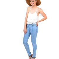 Retro Style Light Wash Denim High Waist Pintuck Cigarette Jeans