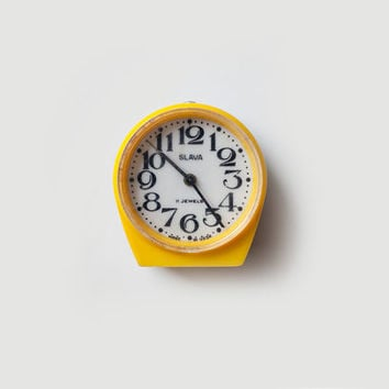 Vintage yellow mechanical alarm clock SLAVA - working condition