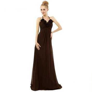 Sexy Chiffon Halter Sleeveless With Flowers Long Evening Dresses Floor Length Party Evening Gowns