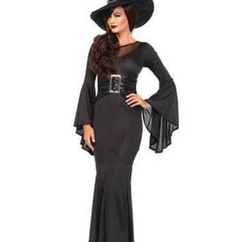 ESBI7E 2PC.Wickedly Sexy Witch,bell sleeved dress w/buckle accent,hat in BLACK