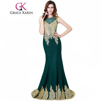 Grace Karin Long Evening Dresses Gold Appliques Arabic Elegant Evening Party Gowns Floor Length Sexy Mermaid Prom Dresses 2017