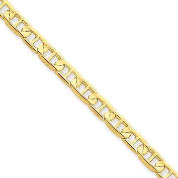 4.5mm, 14k Yellow Gold, Concave Anchor Chain Necklace, 24 Inch