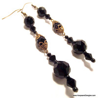 Handcrafted Costume Jewelry Long Shoulder Duster Vintage Black Glass and Filigree Bead Dangle Earrings