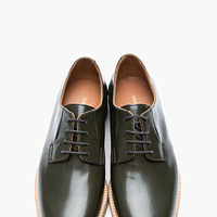 Common Projects Dark Olive Shine Leather Derbys for men | SSENSE