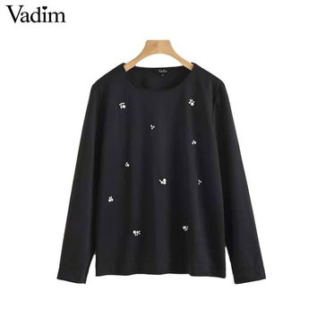 Women chic diamonds pearls patch loose shirt long sleeve o neck blouse lady autumn wear tops