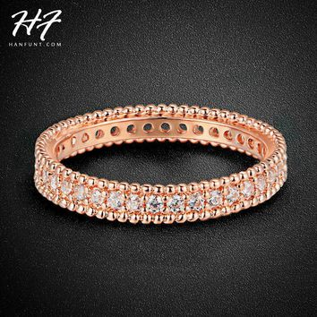 Rose Gold Color Simple Classic Wedding & Engagement Ring Jewelry Made With AAA+ Cubic Zirconia For Women R490