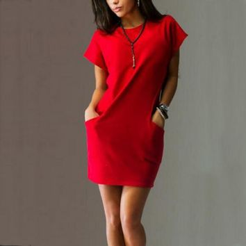 fall fashion mini dress casual short-sleeve o-neck two side pocket dresses women