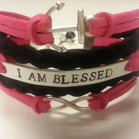 Custom Anchor Infinity Bracelet, Nautical Bracelet feat. Hand Stamped Affirmation and Anchor Charm - Customize - Choose Your Color!