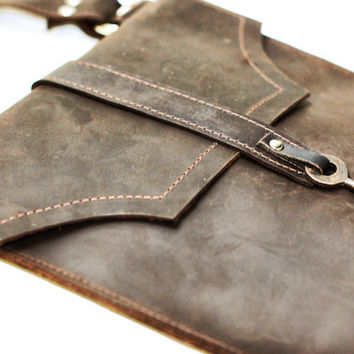 Brown Leather Messenger Bag - Distressed Leather Satchel - Skeleton Key Antique Hardware Steampunk Boho Bag