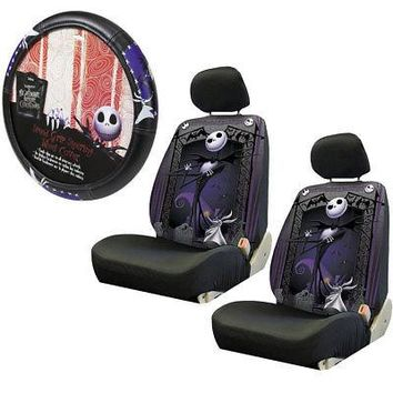 Licensed Official Nightmare Before Christmas Graveyard Car Truck Seat Covers Steering Wheel Cover