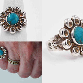 Vintage Navajo Sterling Silver & Turquoise Ring, Flower, Floral, Stamped, Round, Sun, Native American, Size 6, Beautiful! #b882