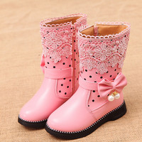 girls boots snow shoes winter kids shoe girl party children dress toddler shoes 2016 size 27~36 for 3~15 year new fashion NN06