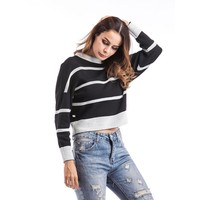 Women's Fashion Stylish Stripes Winter Jacket [11182512647]