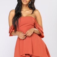 Crazy About You Sleeveless Romper - Marsala