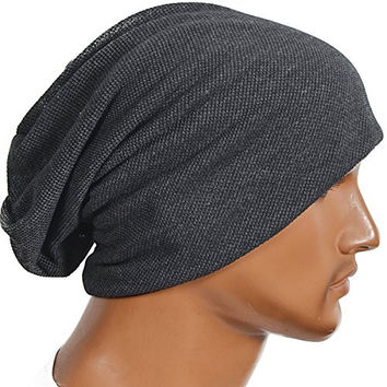 Men's Slouch Skull Beanie Cap Stylish Cool Oversize Hat (Grey)