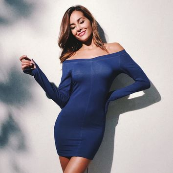 Women Simple Fashion Stitching Bodycon Off Shoulder Split Long Sleeve Solid Color Mini Dress