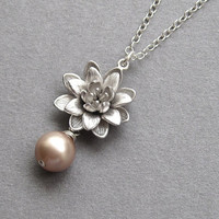 Silver lotus necklace, sterling silver chain, swarovski crystal pearl color choice, matte rhodium plate, buddhist flower necklace