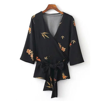 Woman Twill silk Printed Sexy Deep V neck Sashes Blouse Half Sleeve Bow Kimono shirt Blusas mujer Spring Autumn Camisa femininas