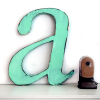 Lowercase Letter A (Pictured in Moss) Pine Wood Sign Wall Decor Rustic Americana French Country Chic