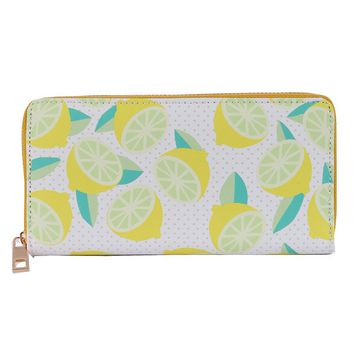 LEMON PRINT VINYL CLUTCH WALLET