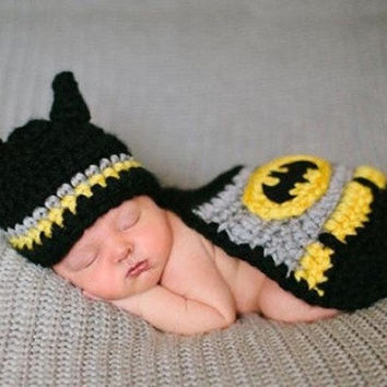 2015 new spring fashion cute Infant Knitted Crochet Crochet Sweater knitting batman For Newborn Baby Costume Photo Photography Prop (Size: 0-6m, Color: Multicolor) = 1927816132