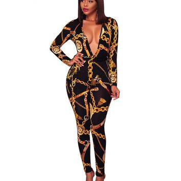 Adogirl Fashion Gold Chain Print Plus Size Women Jumpsuits Sexy Plunging Deep V Neck Long Sleeve Bandage Rompers Ladies Overalls
