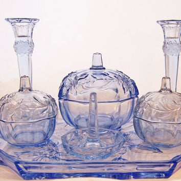Vintage Art Deco, Depression Blue Glass Dressing Table Set , 7pieces Dressing Table Set, UK Seller