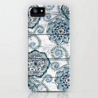 Navy Blue Floral Doodles on Wood iPhone & iPod Case by micklyn